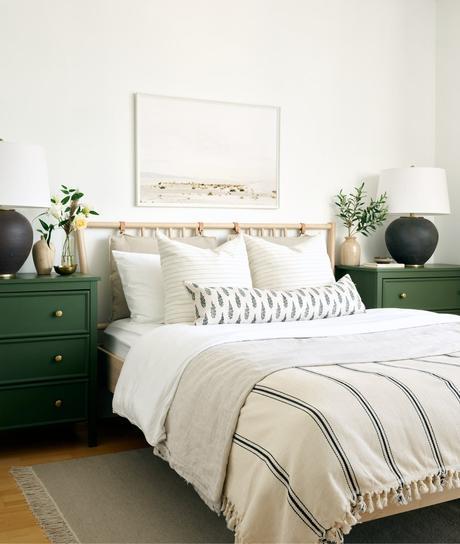 chambre blanche vert sapin intérieur slow life décoration naturelle blog