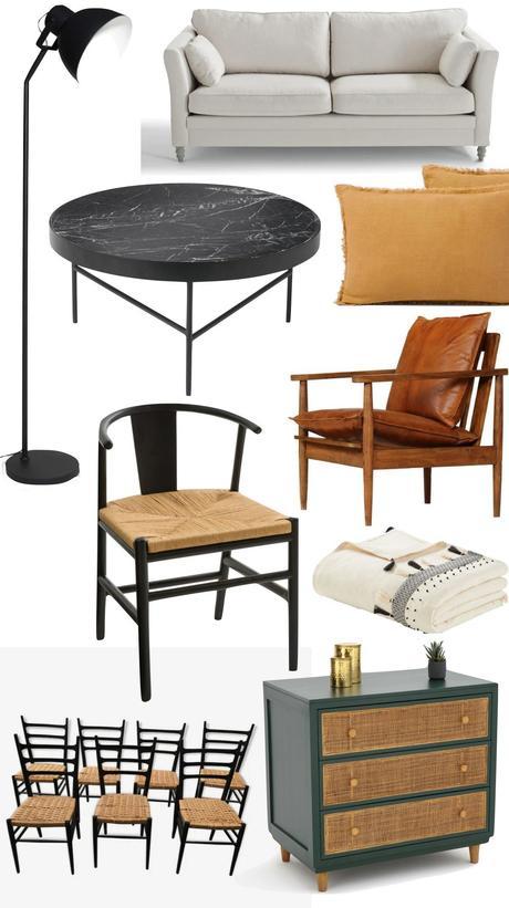 idée décoration salon canapé écru coussin lin ocre commode verte cannage chaise noir bois