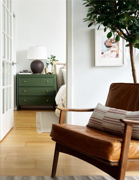 décoration vert laiton ocre bois scandinave salon chambre citronnier intérieur arbuste