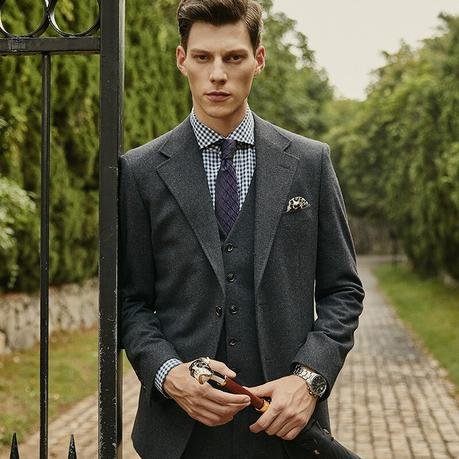 Dark Grey Wool Suit for Men - King of Cocaine