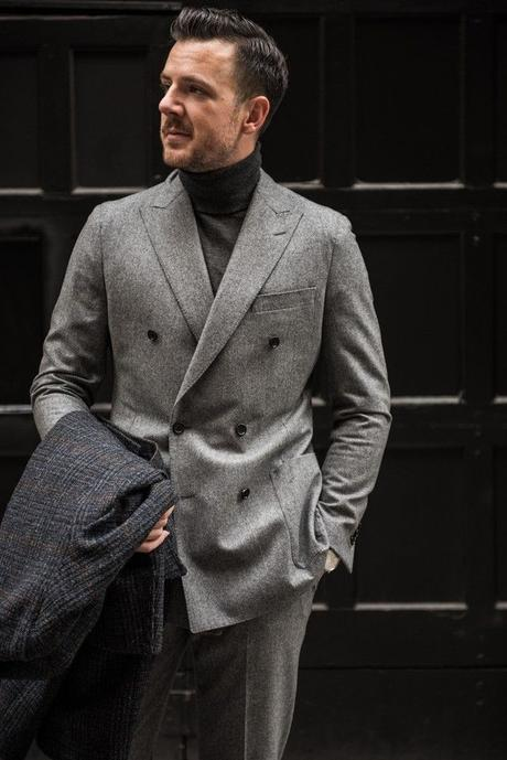 midgrey #flannelsuitgray #overcoat #turtleneck | Flannel suit, Mens  clothing styles, Mens outfits