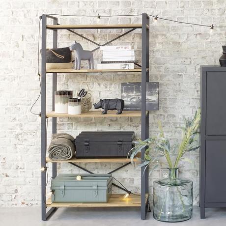 étagère bibliothèque style loft industriel bois métal