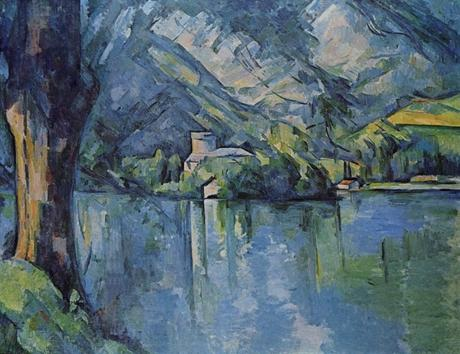 Le Lac Bleu, toile de Paul Cézanne (1896) illustrant le château de Duingt