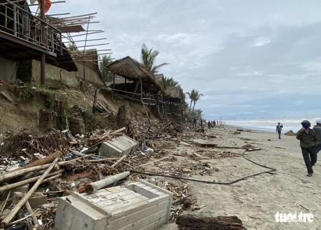 la plage An Bang après une tempête en 2020
