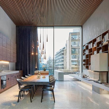 salle à mange cuisine appartement luxueux spacieux bois marbre baie vitrée