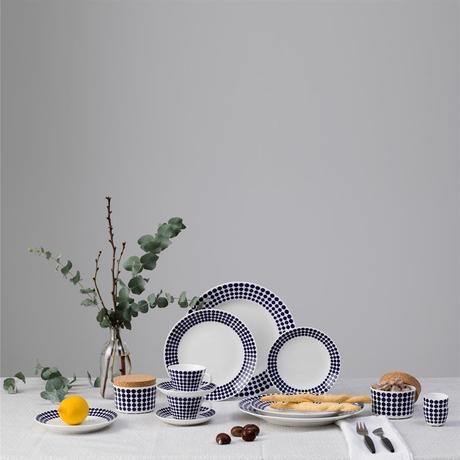 déco intérieure assiette dessert soucoupe marin accessoire motif rond bleu marine blanc blog clematc
