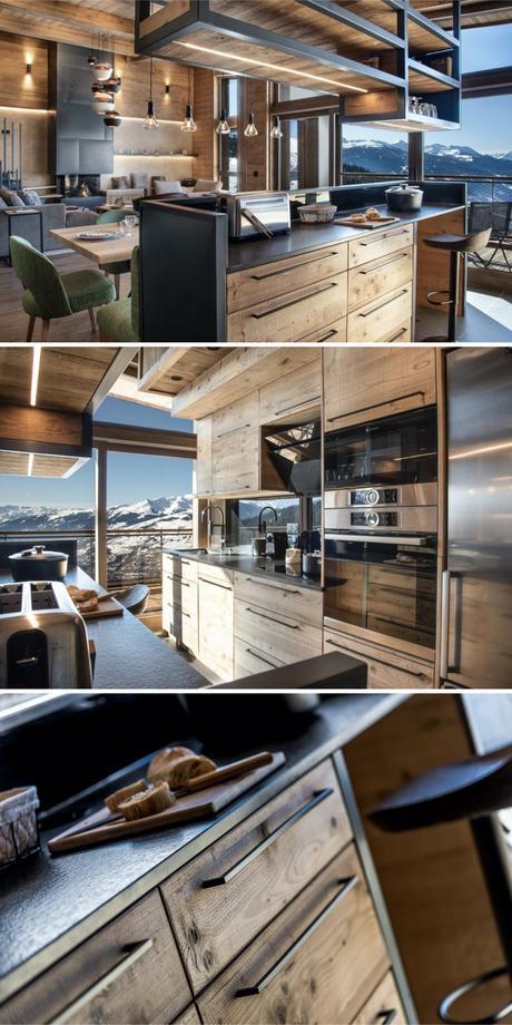 rénovation d'un appartement de montagne style chalet cuisine bois métal noire moderne