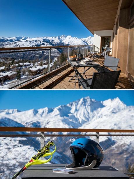 style chalet luxe 4 chambres Arcs Alpes terrasse ski sur les pistes pied