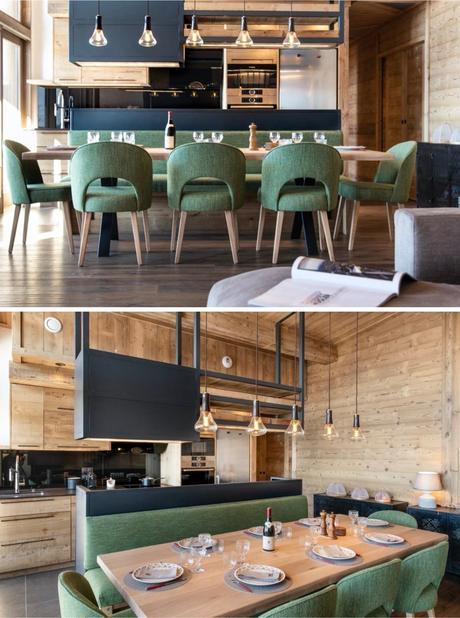 style chalet luxe Arc salon bois vert salle à manger banquette
