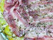 Tarte renversée lard, pommes terre, fromage chèvre miel