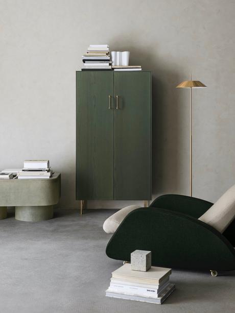 salon béton ciré meuble minimaliste nuance vert kaki