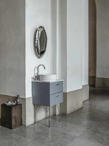 meuble vasque salle de bain étroit bois bleu