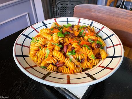 Pasta e fagioli – Fusilli aux haricots rouges et à la courge