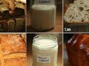 premières recettes levain pain (farines blé, seigle), brioche, pâte pizza, pancakes