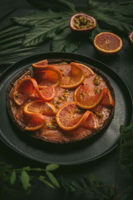 Tarte à l'orange sanguine et fruits de la passion