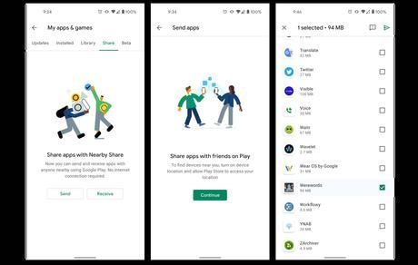 Comment utiliser le Partage à proximité de Google Play Store