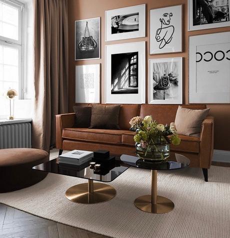 salon marron terracotta mur cadres noir blanc