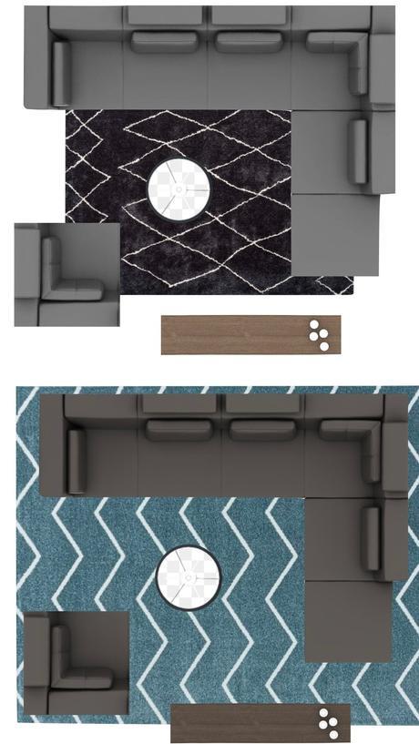tapis géométrique salon taille choisir schéma agencement