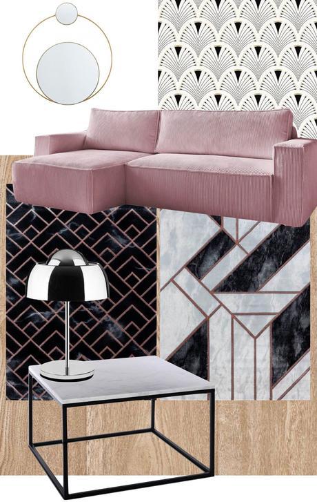 salon art déco papier peint canapé velours côtelé