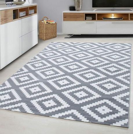 tapis gris graphique chambre ado moderne original pas cher