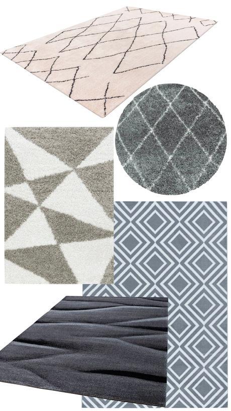 tapis graphique blanc gris moelleux shaggy poil long rond