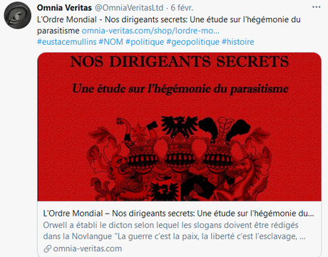 Omnia Veritas Ltd, fournisseur officiel d'#antisemitisme en ligne