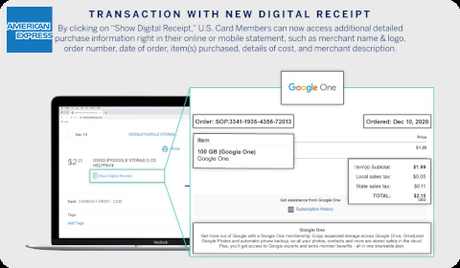AmEx - Transaction with new digital receipt