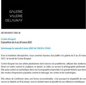 Galerie Valerie Delaunay « Rétrospective III – Corine Borgnet  vernissage 6 Mars 2021