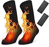BAOTWO Chaussettes chauffantes électriques pour Homme et Femme, Chaussettes d'hiver Chaudes en Coton pour Sports de Plein air – Camping, pêche, Cyclisme, Moto, Patinage et Ski