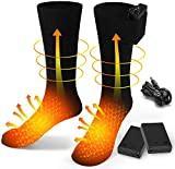 EDUPUP Chaussettes chauffantes électriques pour Homme et Femme - Chaussettes chauffantes en Coton - Chaussettes chauffantes pour Le Camping, la pêche, Le vélo, la Moto, Le Patinage et Le Ski