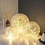 Lights4fun Lot de 3 Décorations Boules Lumineuses LED en Verre Craquelé à Piles