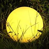Albrillo RGB Lampe Solaire de Jardin - Boule LED Solaire avec Télécommande, Diamètre 40 cm avec 8 Couleurs, Rythme et Luminosité Réglables, USB Rechargeable, IP68 Lumière à Boule pour l'extérieur
