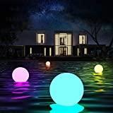 LED lampe boule piscine flottante exterieur 16 RGB couleurs avec RF télécommande, IP67 étanche, la décoration de la piscine intérieure extérieure,Cadeaux idéaux pour vos enfants famille amis(4 pcs)