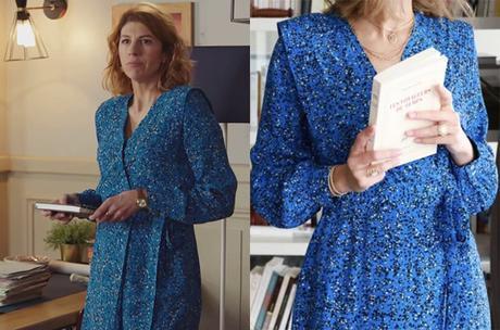DEMAIN NOUS APPARTIENT : la robe bleue imprimé animal de Sandrine dans l'épisode 874