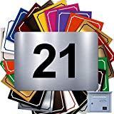 Numéro De Rue Pour Boîte Aux Lettres Adhésif - Numéro De Maison PVC – Plaque Gravée À Personnaliser - PETIT 5 x 3,5 cm – 21 Couleurs Disponibles (Gris Alu Brillant)
