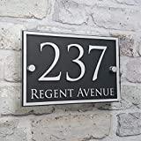 Personnalisé Plaque d'adresse de maison moderne signes de numéro de porte plaques nominatives verre effet acrylique (02)