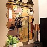Lot de 12 miroirs acryliques autocollants muraux hexagonaux en plastique pour décoration d'intérieur, pour le salon, la chambre à coucher, au dessus du canapé ou de la télévision doré