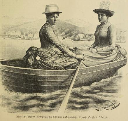 La partie de canotage de la princesse Stéphanie de Belgique à Abbazia  (Opatija,1887)