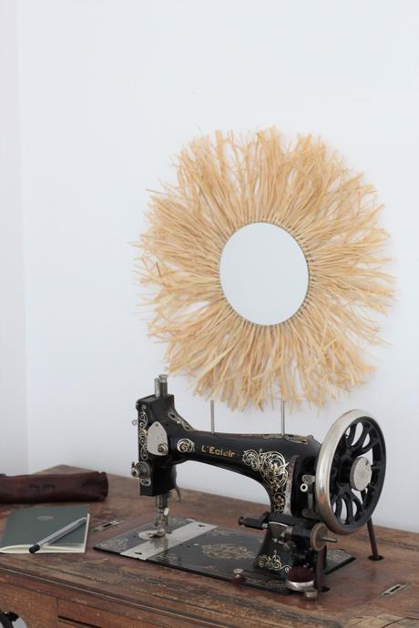 comment créer tuto miroir raphia diy déco murale bohème rétro