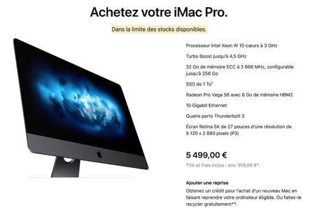 Apple met fin à l'iMac Pro