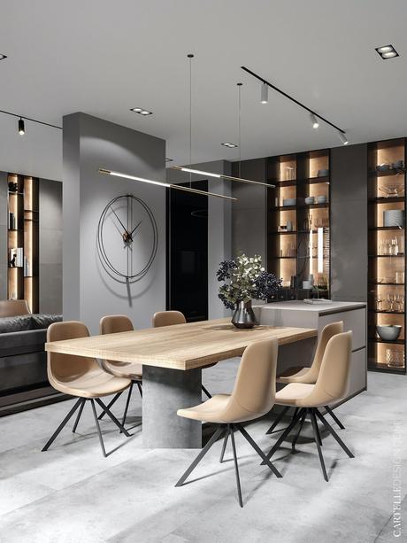 déco gris et bois salon salle à manger table chaise velours beige design masculin