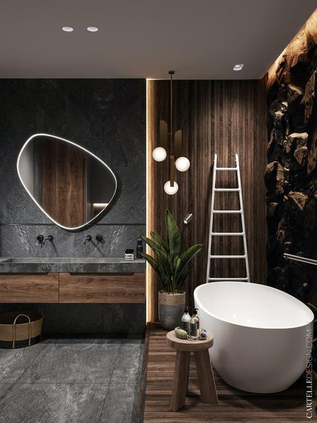 salle de bain moderne masculine déco gris bois foncé mineral