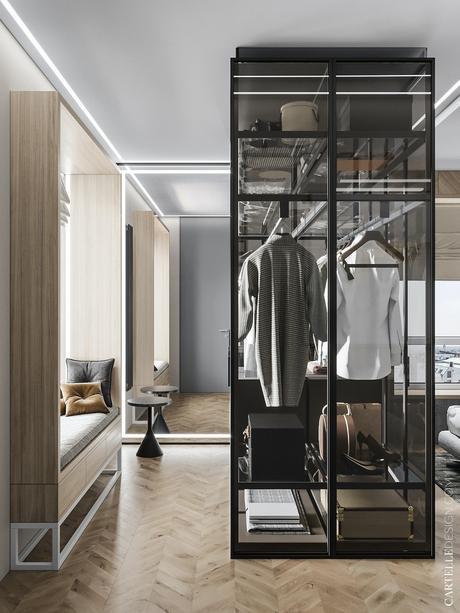 dressing pièce rangement vêtement façon exposition verrière meuble transparent banc essayage fenêtre