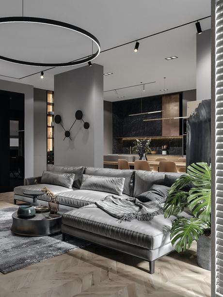 salon canapé angle velours gris parquet bois chevron brut chêne