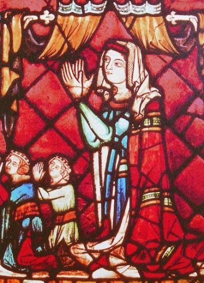 Vitrail de Abbaye de Saint-Florian (Autriche) représentant Jeanne de Ferrette [Domaine public]
