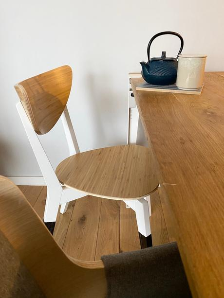 salle à manger bois chêne massif table pied blanc tiptoe chaise