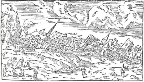 Vieille gravure représentant le tremblement de terre de Bâle en 1356