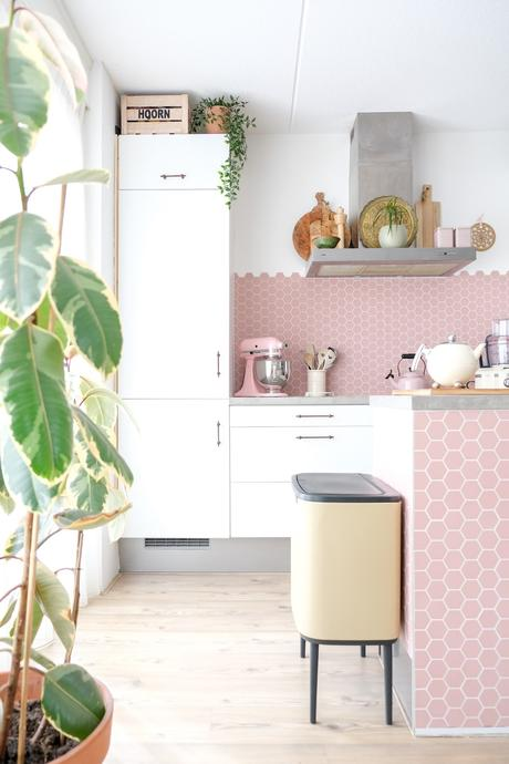 cuisine lumineuse imitation carrelage rose plante verte déco vintage