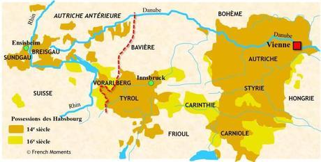 Carte de l'Autriche antérieure (Vorderösterreich) © French Moments