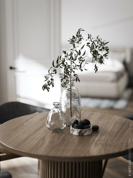 slow life vase verre branche gui table ronde décoration intérieure clematc